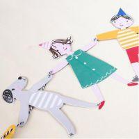 纸彩旗批发可爱卡通人物动物彩旗 生日节庆派对拍摄装饰道具