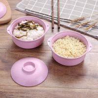 家用日式餐具沙拉碗小麦秸秆圆盖米饭碗泡面碗环保材料儿童适用碗