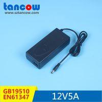 厂家12V5A 电源适配器3C认证EN61347灯具标准台灯桌面式开关电源
