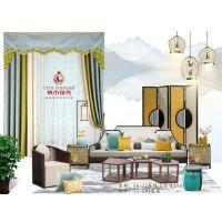 【窗帘加盟】中国七大窗帘品牌城市领秀产品--雪尼尔提花遮光窗帘--天蓝水绿