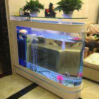 鱼缸水族箱客厅玻璃屏风隔断鱼缸子弹头生态金鱼缸家用玄关水族箱