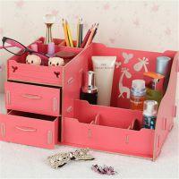 桌面收纳盒 木质抽屉式收纳盒 首饰盒 梳妆盒护肤品整理盒化妆品