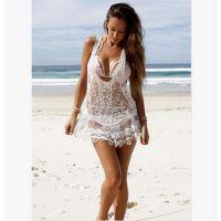 度假游泳钩花镂空比基尼外罩衫沙滩裙罩衫蕾丝防晒衣网状针织衫