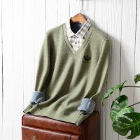 秋冬男士加绒加厚长袖保暖衬衫假两件针织衫中青年爸爸装保暖衬衣