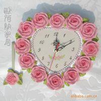欧佰纳家居饰品 心形玫瑰小挂钟 树脂挂钟 工艺礼品 客厅钟表批发