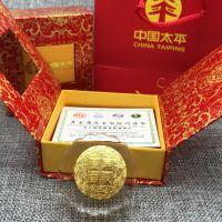 水晶月饼中秋节黄金月饼礼品 水晶镶金金币纪念章摆件定制