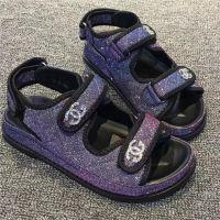 原宿女凉鞋2018夏季新款厚底沙滩鞋女鞋魔术贴平底学生鞋松糕鞋女
