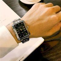 2018新款时尚防水长方形钢带手表男学生韩版简约潮流复古非机械表
