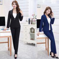 公司职业装女装女士律师套装正装工作服长袖两件套黑色西装酒店服