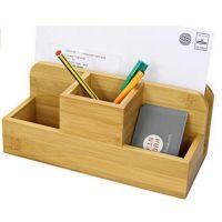 桌面收纳盒竹质客厅茶几遥控器整理盒创意办公分类储物盒