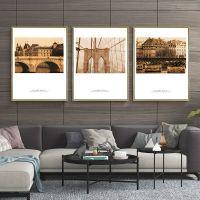 厂家直销复古风客厅装饰画挂画背景墙壁画建筑风景三联组合画