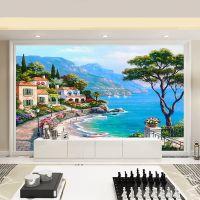 定制无缝大型壁画 地中海客厅无纺布墙纸 海边花园风景电视背景墙