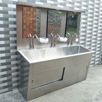 三强 304不锈钢洗手池 医院浸泡 清洗 高低背板污物清洗槽 双控式
