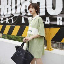 2019韩版夏季新款字母刺绣撞色拼接宽松POLO领中长款短袖T恤女