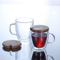 双层透明马克杯 简约咖啡杯 耐高温欧式水杯子带盖 玻璃杯