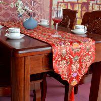 中国风多色可定制云头波浪形仿三五丝织锦中式桌旗