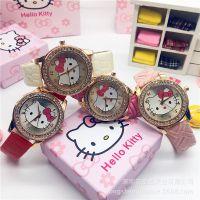 厂家供应新款韩版创意女童卡通手表 可爱KT猫镶钻防水儿童石英表