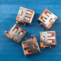 USB AF2.0 母座 90度侧插 橙色胶芯 直角卷边