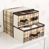 抽屉式收纳盒放袜子内衣文胸两层储物盒防水折叠整理盒布艺收纳箱