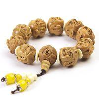 礼品挂饰 桃木手工雕刻双面十八罗汉手串 男士女情侣款佛珠手链