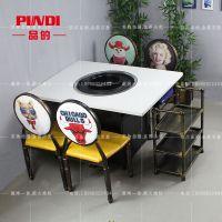 品的涮烤大理石火锅烧烤一体桌 韩式铁板烧烤肉桌 自助烤涮一体桌 商用 成都厂家定制