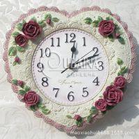 欧式创意挂钟日韩时尚经典玫瑰墙钟挂表别墅样品房挂件墙饰工艺品