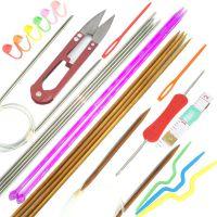 彩色金属围巾针毛线针带钩编织针钩针针织工具勾套装毛衣可钩