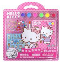 韩版彩绘画颜料涂鸦套装钻贴冰雪卡通炫彩贴纸彩画组合kitty图画