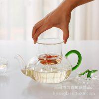 批发耐热花花草茶壶过滤加热南瓜壶玻璃壶日用百货茶具茶壶新品