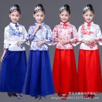 儿童演出服 复古青花瓷大合唱古筝表演服 女童民乐伴奏古典舞蹈服