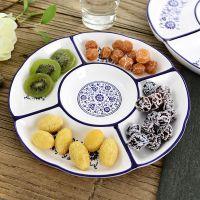青花瓷创意异形陶瓷拼盘大号盘子分格家用干果盘饭店水果盘餐具
