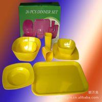 【厂家直销】方形26头密胺美耐皿餐具套装