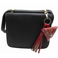 创意PU流苏钥匙扣挂件 迷你皮革柳钉三角形零钱包钥匙扣 包包挂件