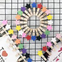 时尚创意木制卡通木片五角星夹子 装饰照片夹子 4CM小木夹