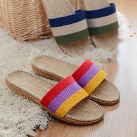 条纹亚麻拖鞋男女情侣家居室内夏季厚底地板拖鞋防滑凉拖鞋
