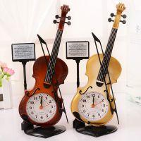 闹钟创意乐器造型桌面包邮仿真小提琴时钟客厅摆件学生台钟座钟