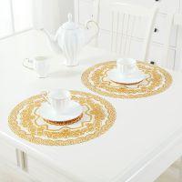 方形餐垫金色防水隔热布茶几烟灰缸防滑桌布小块烫金PVC垫底