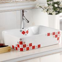 台面独立式贴花陶瓷艺术台上盆洗手盆