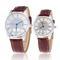 韩版蓝光玻璃罗马条钉单日历手表情侣皮带对表男手表女手表淘货源