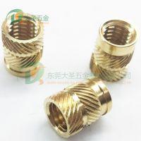 IUTB-M6x12.7 标准热熔铜螺母 M6规格尺寸铜嵌件 塑胶后埋铜螺母
