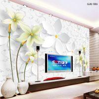 百合3d立体现代简约电视背景墙纸客厅唯美温馨浪漫淡雅大型壁画
