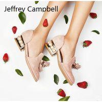 欧美时尚女鞋 Jeffrey Campbell粉色中跟珍珠装饰单鞋流苏新品