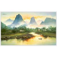 梁艺油画,梁艺画廊,精品布上装饰画,实木框订做,山水油画132x220