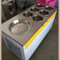 大型商用泰式炒冰机 炒酸奶机 单圆平锅带6盘 炒冰淇淋机