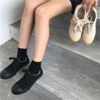 2018夏季新款百搭板鞋学生韩版ulzzang帆布鞋女复古系带潮小黑鞋