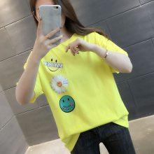 t恤女装2019春夏新款韩版大码女式短袖T恤打底衫外贸原单厂家