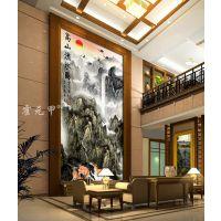 霍元甲瓷砖 现代简约高清客厅电视背景墙高山流水彩雕玄关