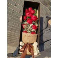 冉子花坊11枝红玫瑰礼盒经典款