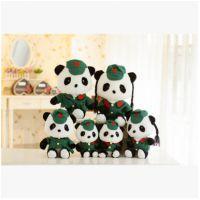 批发毛绒玩具 可爱红军装情侣熊猫 爱国大熊猫公仔 一件代发货