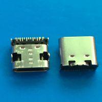 板上USB TYPE-C 3.1母座16P单排贴片SMT 无凸包 卧式90度插板DIP